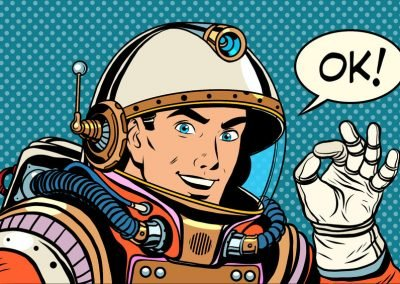 55726357 – ok astronaut man okay gesture well pop art retro style. okay vector. retro space good quality