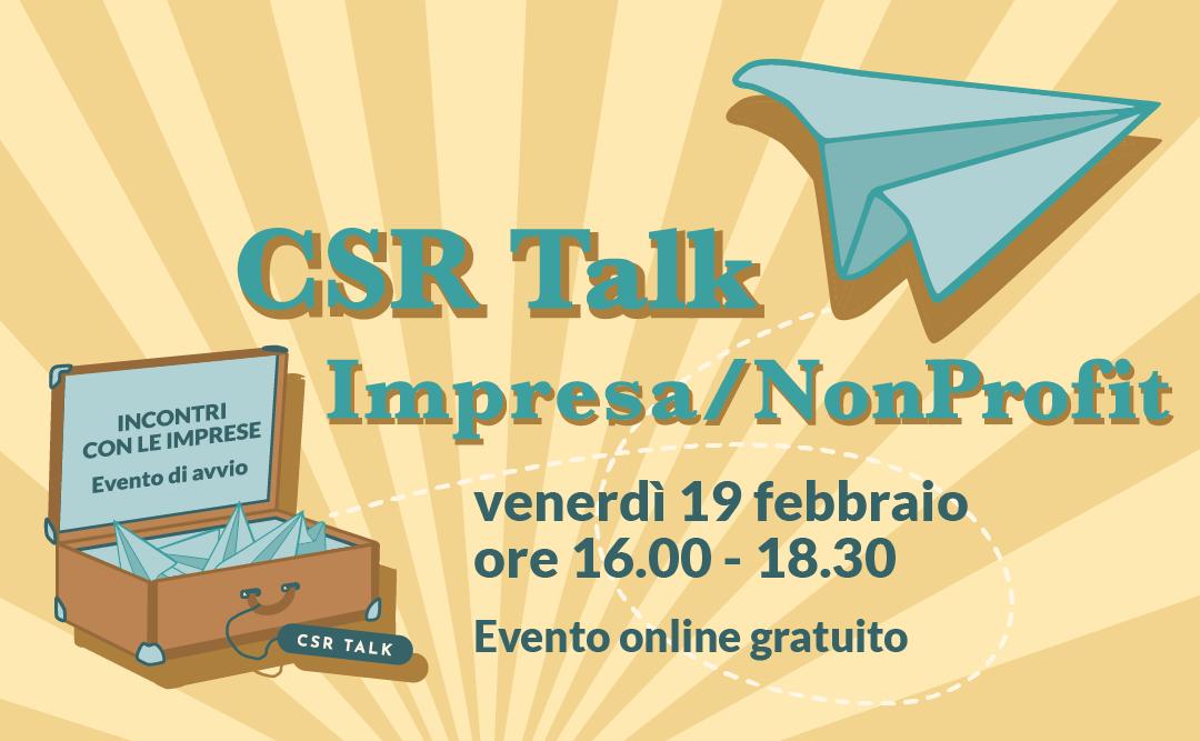 IN ARRIVO L'EVENTO CSR TALK – IMPRESE E TERZO SETTORE!